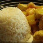 Rotes Kürbiscurry mit Hühnchen