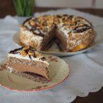 Nuss-Nougat-Torte mit Fruchtspiegel und Nussboden