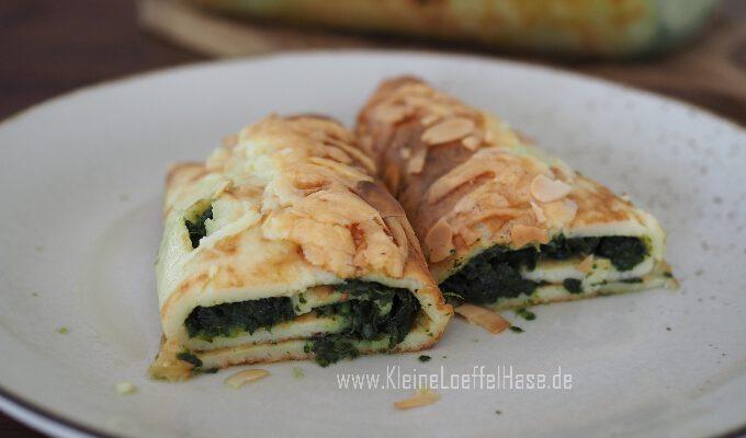 Gefüllte Pfannkuchen mit Spinat und Käse {überbacken}